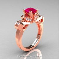 Classic 14K Rose Gold 1.0 Ct Rose Ruby White Diamond Solitaire Engagement Ring R323-14KRGDRR