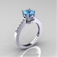 Classic French 14K White Gold 1.0 Ct Blue Topaz Diamond Solitaire Ring R101-14WGDBT