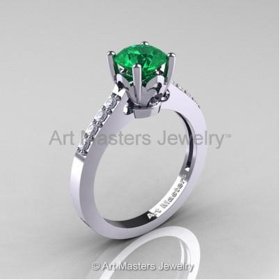 Classic-14K-White-Gold-1-Carat-Emerald-Diamond-Solitaire-Wedding-Ring-R101-14KWGDEM-P-402×402