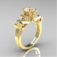 Classic 14K Yellow Gold 1.0 Ct Champagne and White Diamond Solitaire Engagement Ring R323-14KYGDCHD