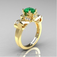 Classic 14K Yellow Gold 1.0 Ct Emerald and White Diamond Solitaire Engagement Ring R323-14KYGDEM