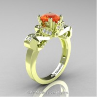 Classic 18K Green Gold 1.0 Ct Orange Sapphire Diamond Solitaire Engagement Ring R323-18KGRGDOS