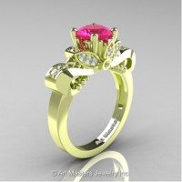 Classic 18K Green Gold 1.0 Ct Pink Sapphire Diamond Solitaire Engagement Ring R323-18KGRGDPS