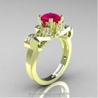 Classic 18K Green Gold 1.0 Ct Rose Ruby Diamond Solitaire Engagement Ring R323-18KGRGDRR