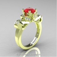 Classic 18K Green Gold 1.0 Ct Ruby Diamond Solitaire Engagement Ring R323-18KGRGDR