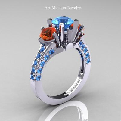 Classic-French-14K-White-Gold-Three-Stone-2-Ct-Blue-Topaz-Orange-Sapphire-Solitaire-Wedding-Ring-R421-14KWGOSBT-P-402×402