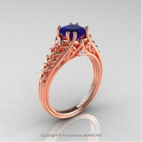 French 14K Rose Gold 1.0 Ct Princess Blue Sapphire Diamond Lace Engagement Ring Wedding Ring R175P-14KRGDBS