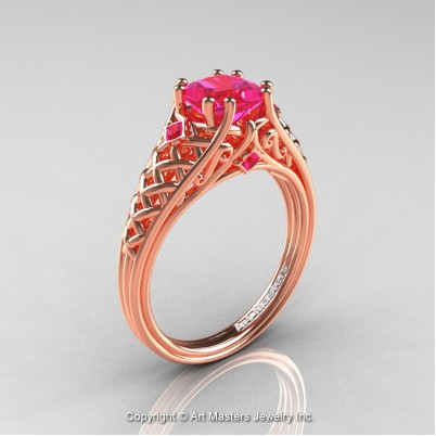 Classic-French-Rose-Gold-Princess–Pink-Sapphire-Lace-Bridal-Ring-R175P-RGPS-P-402×402