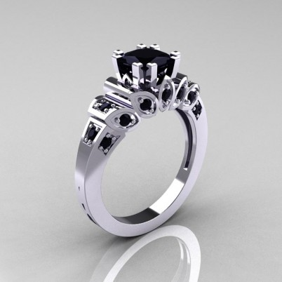 Classic-French-White-Gold-1-CT-Princess-Black-Diamond-Engagement-Ring-R216P-WGBD-P-402×402