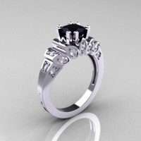 Classic French 10K White Gold 1.23 CT Black and White Diamond Engagement Ring R216P-10KWGDBD