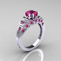 Classic French 10K White Gold 1.23 CT Princess Pink Sapphire Engagement Ring R216P-10KWGPS