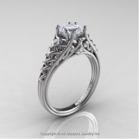 French 14K White Gold 1.0 Ct Princess White Sapphire Diamond Lace Engagement Ring Wedding Ring R175P-14KWGDWS