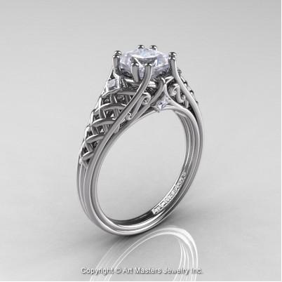Classic-French-White-Gold-Princess-White-Sapphire-Diamond-Lace-Bridal-Ring-R175P-WGDPS-P2-402×402