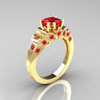 Classic French 18K Yellow Gold 1.23 CT Princess Ruby Engagement Ring R216P-18KYGR