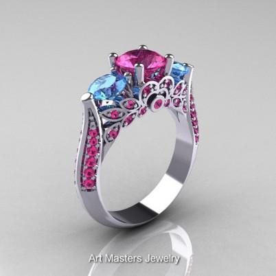 Classic-Gold-Three-Stone-Sapphire-Topaz-Engagement-Ring-R200-14KWGPSBT-P-402×402