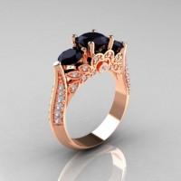 Classic 10K Rose Gold Three Stone Black Moissanite White Diamond Solitaire Ring R200-10KRGDBM