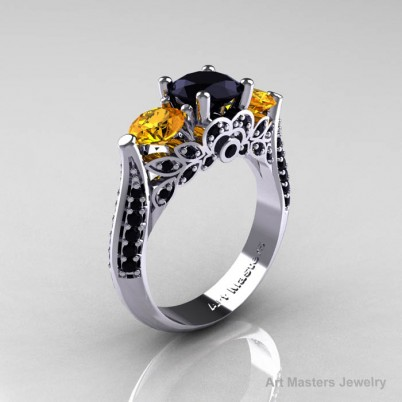Classic-White-Gold-Three-Stone-Black-Diamond-Citrine-Solitaire-Engagement-Ring-R200-WGCIBD-P-402×402