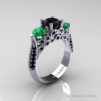 Classic-White-Gold-Three-Stone-Black-Diamond-Emerald-Solitaire-Engagement-Ring-R200-WGEMBD-P-402×402