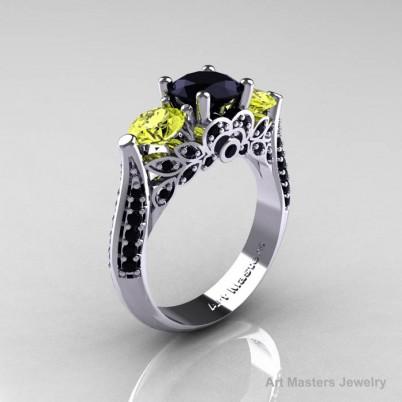 Classic-White-Gold-Three-Stone-Black-Diamond-Yellow-Topaz-Solitaire-Engagement-Ring-R200-WGYTBD-P-402×402