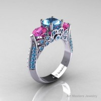 Classic 10K White Gold Three Stone Blue Pink Topaz Solitaire Ring R200-10KWGBTPT