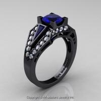 Edwardian 14K Black Gold 1.0 Ct Blue Sapphire Diamond Engagement Ring R285-14KBGDBS