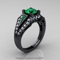 Edwardian 14K Black Gold 1.0 Ct Emerald Diamond Engagement Ring R285-14KBGDEM