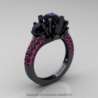 French 14K Black Gold Three Stone 2.0 Ct Black Diamond Pink Sapphire Solitaire Wedding Ring R421-14KBGPSBD