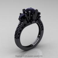 French 14K Black Gold Three Stone 2.0 Ct Black Diamond Solitaire Wedding Ring R421-14KBGBD