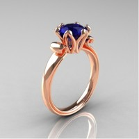Antique 14K Rose Gold 1.5 CT Blue Sapphire Engagement Ring AR127-14KRGBS