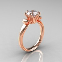 Antique 14K Rose Gold 1.5 CT Cubic Zirconia Engagement Ring AR127-14KRGCZ