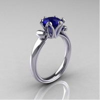 Antique 14K White Gold 1.5 CT Blue Sapphire Engagement Ring AR127-14KWGBS