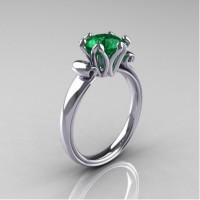Antique 14K White Gold 1.5 Carat Emerald Engagement Ring AR127-14KWGEM