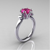 Antique 14K White Gold 1.5 Carat Pink Sapphire Solitaire Engagement Ring AR127-14KWGPS