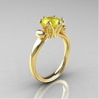 Antique 10K Yellow Gold 1.5 CT Yellow Sapphire Engagement Ring AR127-10KYGYS