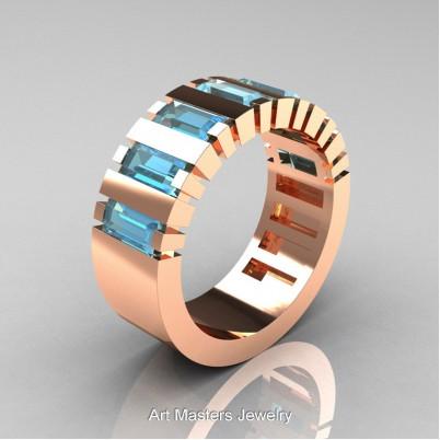 Mens-Modern-14K-Rose-Gold-Aquamarine-Baguette-Cluster-Wedding-Band-R395-14KRGAQ-P-402×402
