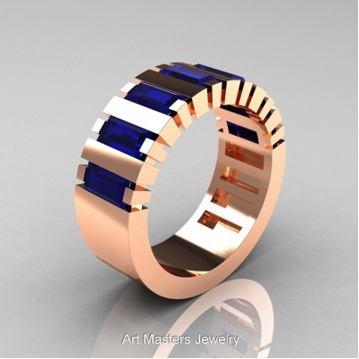 Mens-Modern-14K-Rose-Gold-Blue-Sapphire-Baguette-Cluster-Tank-Wedding-Band-R395-14KRGBS-P-402×402