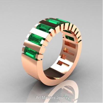 Mens-Modern-14K-Rose-Gold-Emerald-Baguette-Cluster-Tank-Wedding-Band-R395-14KRGEM-P-402×402
