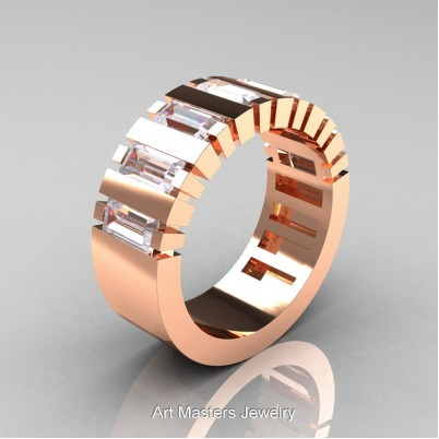 Mens-Modern-14K-Rose-Gold-Russian-Ice-Simulated-Diamond-Baguette-Cluster-Tank-Wedding-Band-R395-14KRGRISD-P-402×402