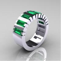 Modern 14K White Gold Baguette Emerald Tank Mens Wedding Ring R395-14KWGEM