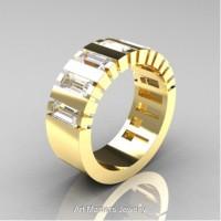Modern 14K Yellow Gold Baguette White Sapphire Tank Mens Wedding Ring R395-14KYGWS