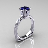 Modern Antique 18K White Gold 1.20 CT Princess Marquise Blue and White Sapphire Solitaire Ring R219-19KWGBSWS