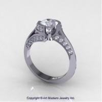 Modern French 14K White Gold 1.0 Ct White Sapphire Engagement Ring Wedding Ring R376-14KWGWS