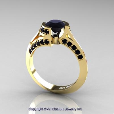 Modern-French-14K-Yellow-Gold-1-0-Carat-Black-Diamond-Engagement-Ring-Wedding-Ring-R376-14KYGBD-P2-402×402