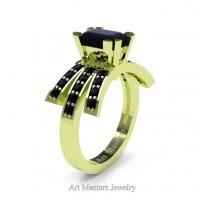 Victorian Inspired 18K Green Gold 1.0 Ct Emerald Cut Black Diamond Wedding Ring Engagement Ring R344-18KGRGBD