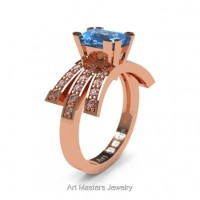 Victorian Inspired 14K Rose Gold 1.0 Ct Emerald Cut Blue Topaz Diamond Wedding Ring Engagement Ring R344-14KRGDBT