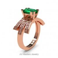 Victorian Inspired 14K Rose Gold 1.0 Ct Emerald Cut Emerald Diamond Wedding Ring Engagement Ring R344-14KRGDEM