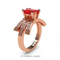 Victorian Inspired 14K Rose Gold 1.0 Ct Emerald Cut Ruby Diamond Wedding Ring Engagement Ring R344-14KRGDR
