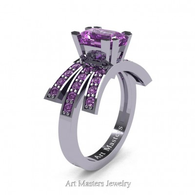 Modern-Victorian-14K-White-Gold-1-Ct-Emerald-Cut-Lilac-Amethyst-Engagement-Ring-R344-14KWGLAM-P-402×402