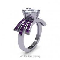 Victorian Inspired 14K White Gold 1.0 Ct Emerald Cut White Sapphire Amethyst Wedding Ring Engagement Ring R344-14KWGAMWS