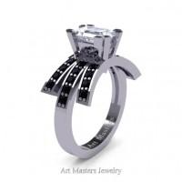Victorian Inspired 14K White Gold 1.0 Ct Emerald Cut White Sapphire Black Diamond Wedding Ring Engagement Ring R344-14KWGBDWS